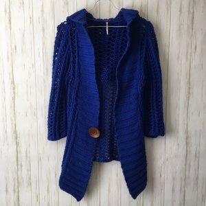 free people • Royal Blue Crochet Hoodie Cardigan